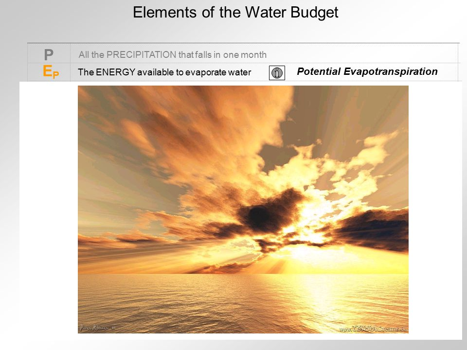 Elements of the Water Budget P EPEP All the PRECIPITATION that falls in one month The ENERGY available to evaporate water Potential Evapotranspiration