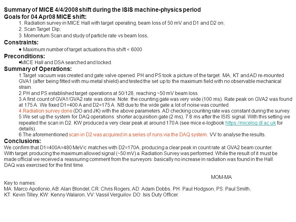 Summary of MICE 4/4/2008 shift during the ISIS machine-physics period Goals for 04 Apr08 MICE shift: 1.