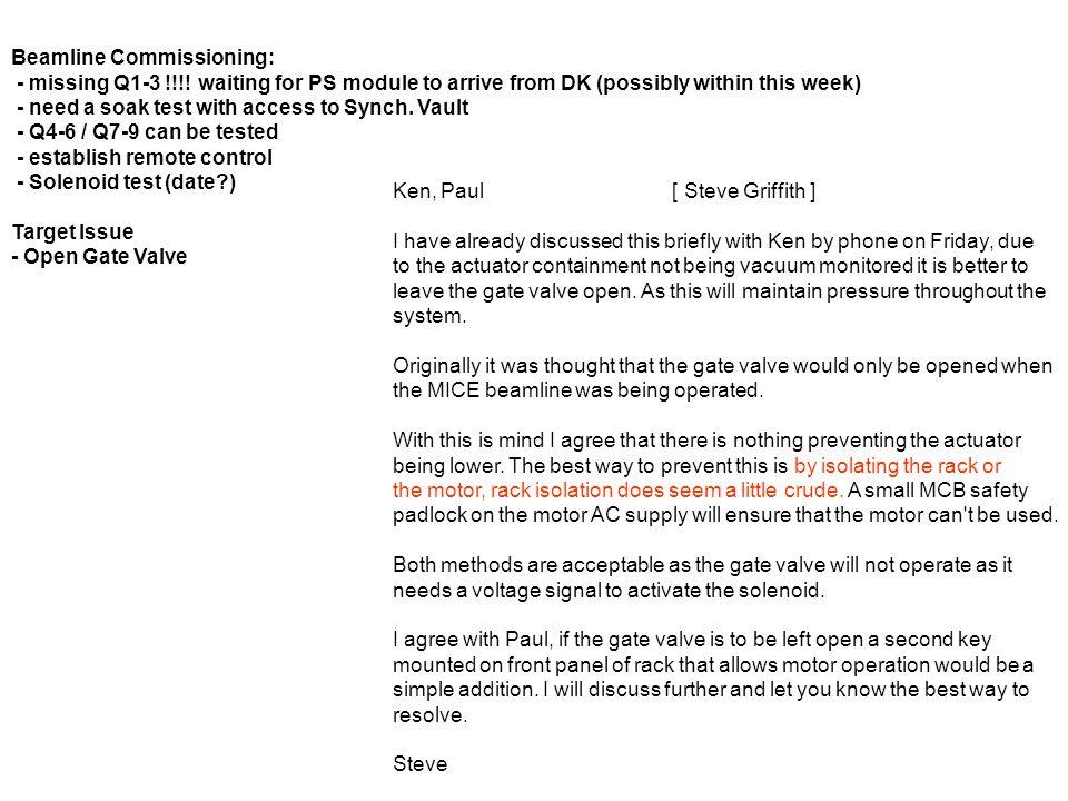 Beamline Commissioning: - missing Q1-3 !!!.