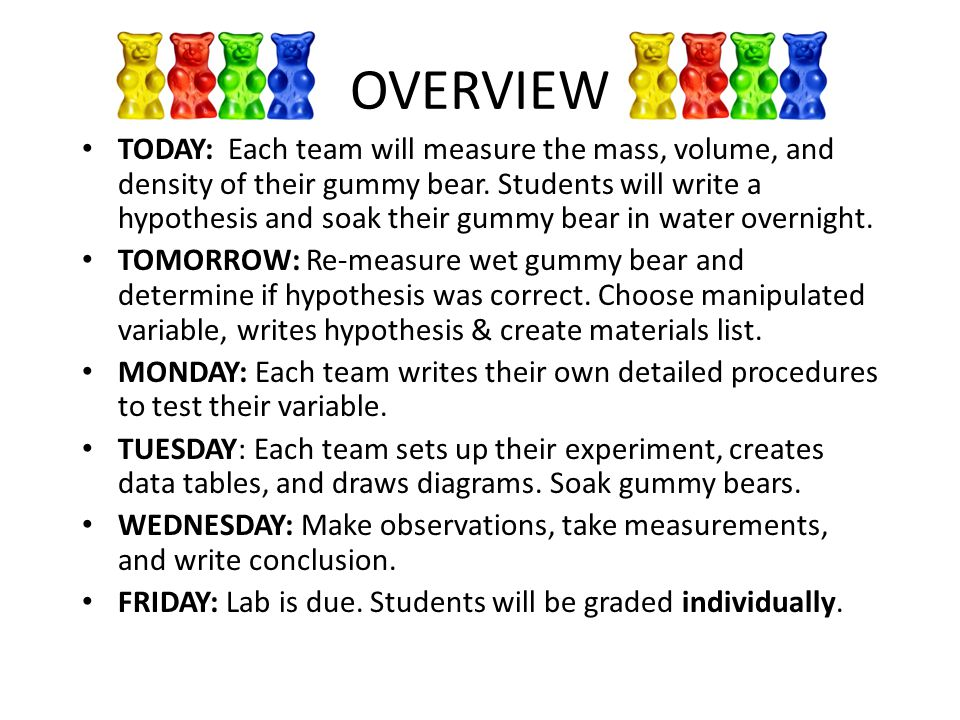 OVERVIEW TODAY: Each team will measure the mass, volume, and density of their gummy bear.