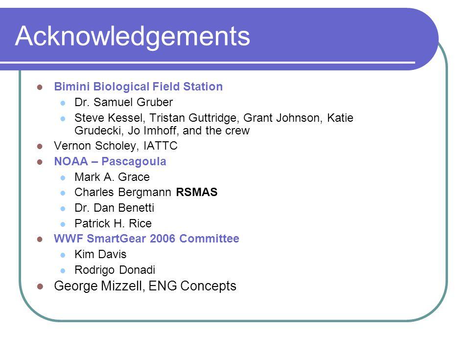 Acknowledgements Bimini Biological Field Station Dr.