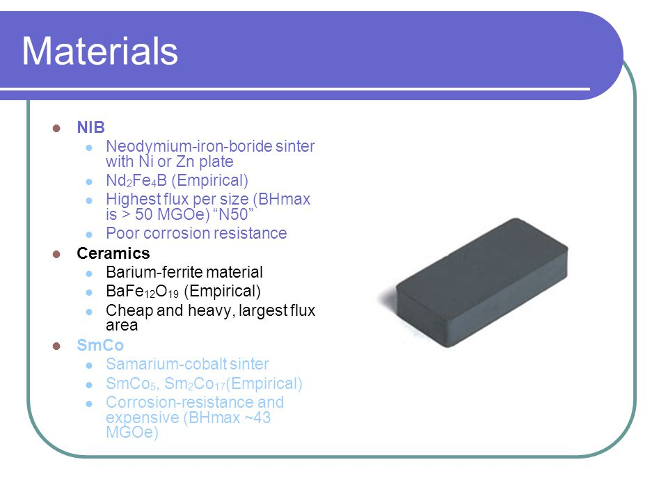 Materials NIB Neodymium-iron-boride sinter with Ni or Zn plate Nd 2 Fe 4 B (Empirical) Highest flux per size (BHmax is > 50 MGOe) N50 Poor corrosion resistance Ceramics Barium-ferrite material BaFe 12 O 19 (Empirical) Cheap and heavy, largest flux area SmCo Samarium-cobalt sinter SmCo 5, Sm 2 Co 17 (Empirical) Corrosion-resistance and expensive (BHmax ~43 MGOe)