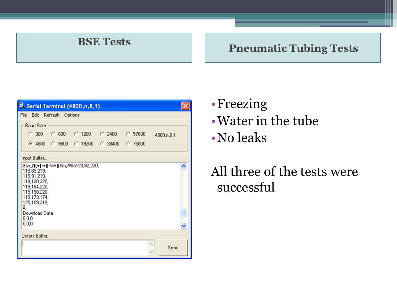 BSE Tests Pneumatic Tubing Tests Freezing Water in the tube No leaks All three of the tests were successful
