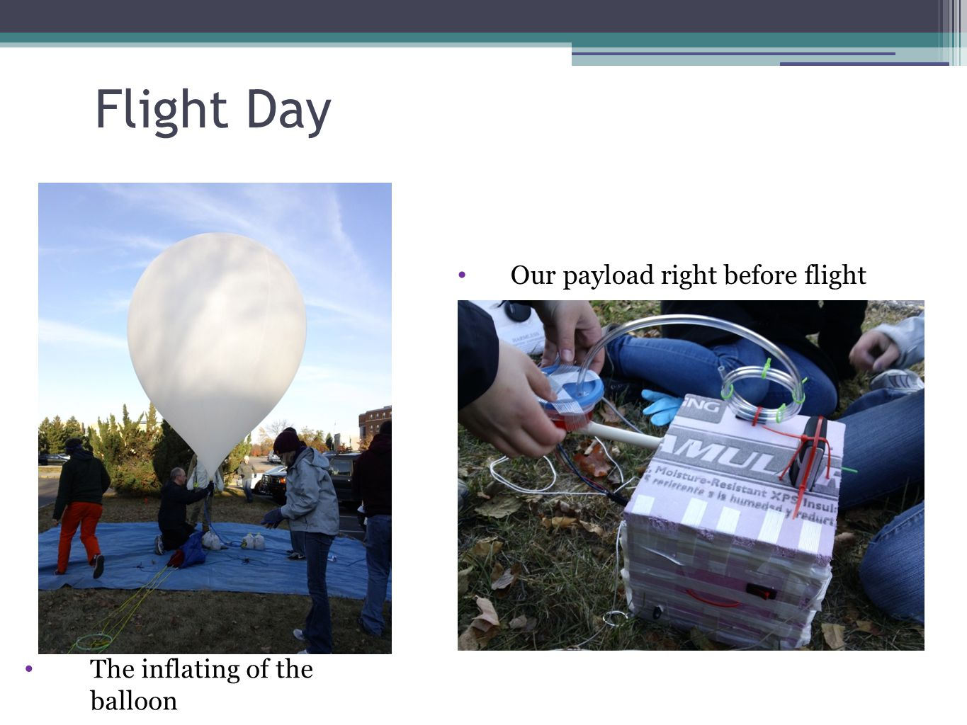 Flight Day The inflating of the balloon Our payload right before flight