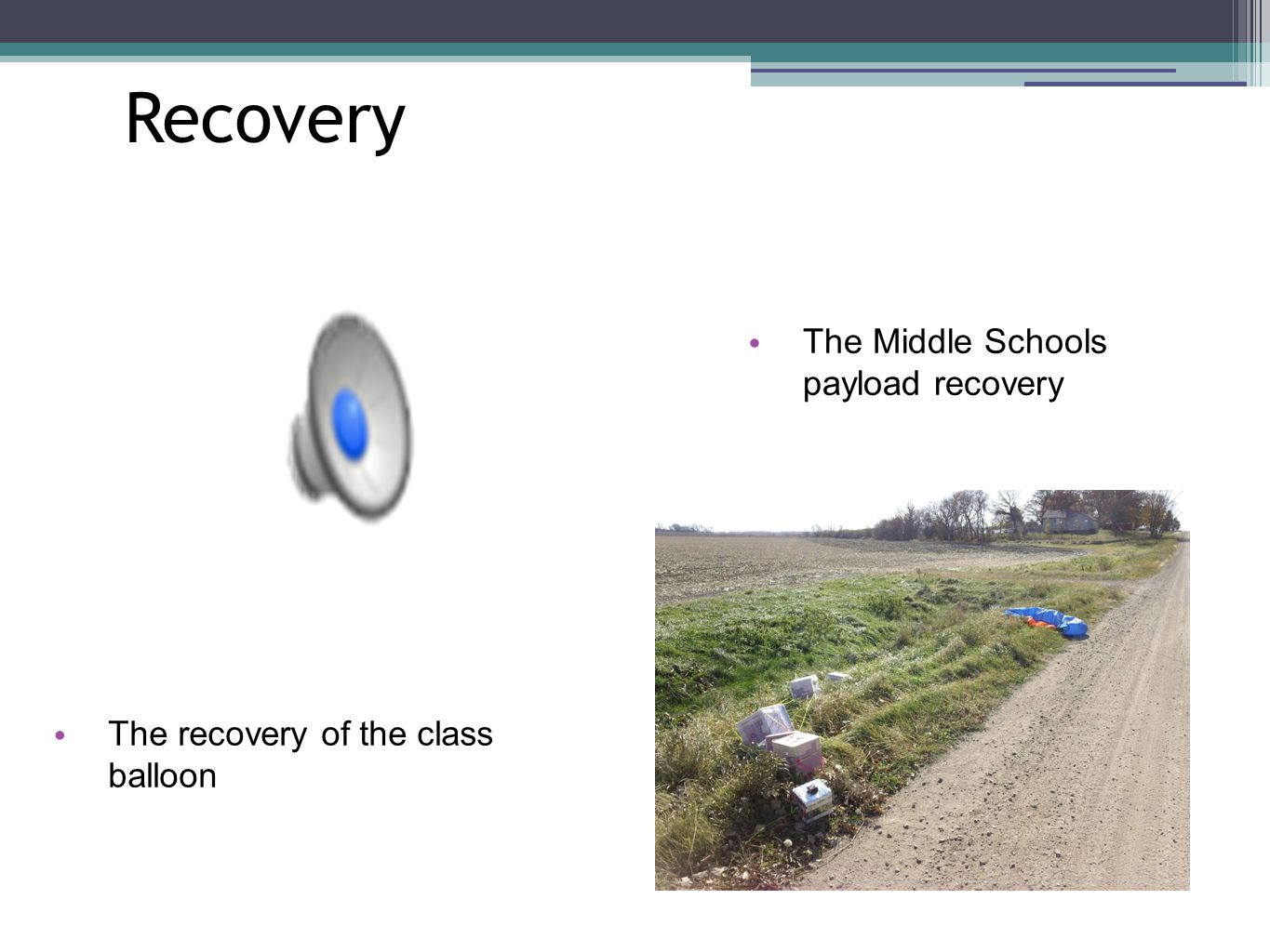 Recovery The Middle Schools payload recovery The recovery of the class balloon