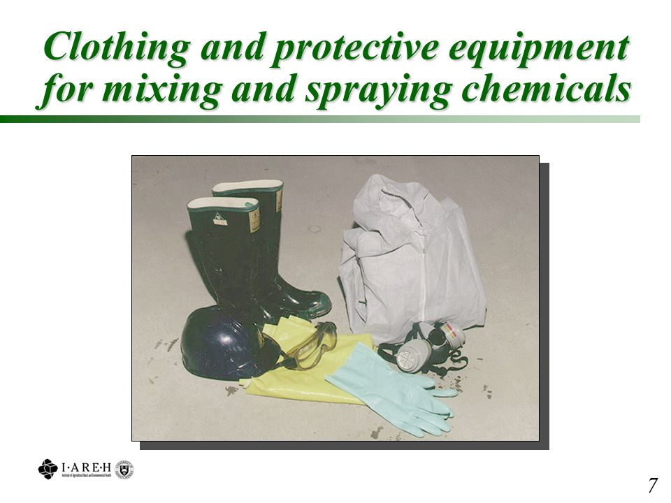 Clothing and protective equipment for mixing and spraying chemicals 7