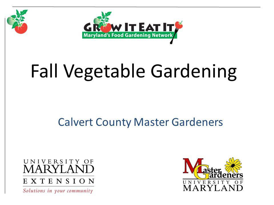 Fall Vegetable Gardening Calvert County Master Gardeners