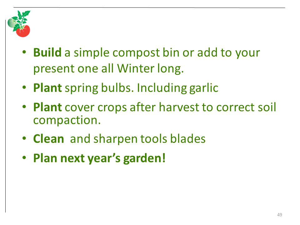 49 Build a simple compost bin or add to your present one all Winter long. Plant spring bulbs. Including garlic Plant cover crops after harvest to corr