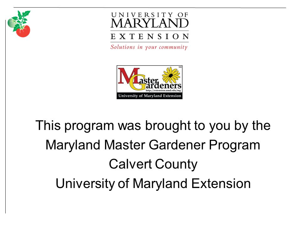 This program was brought to you by the Maryland Master Gardener Program Calvert County University of Maryland Extension