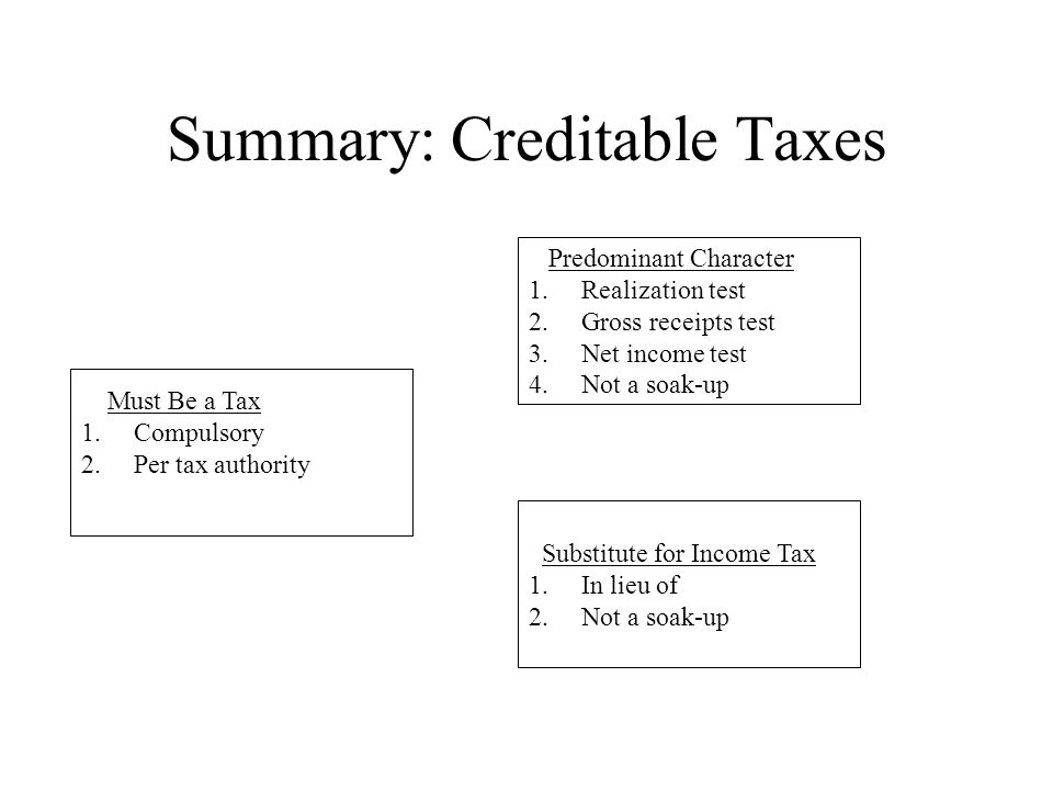 Summary: Creditable Taxes Must Be a Tax 1.Compulsory 2.Per tax authority Predominant Character 1.Realization test 2.Gross receipts test 3.Net income test 4.Not a soak-up Substitute for Income Tax 1.In lieu of 2.Not a soak-up