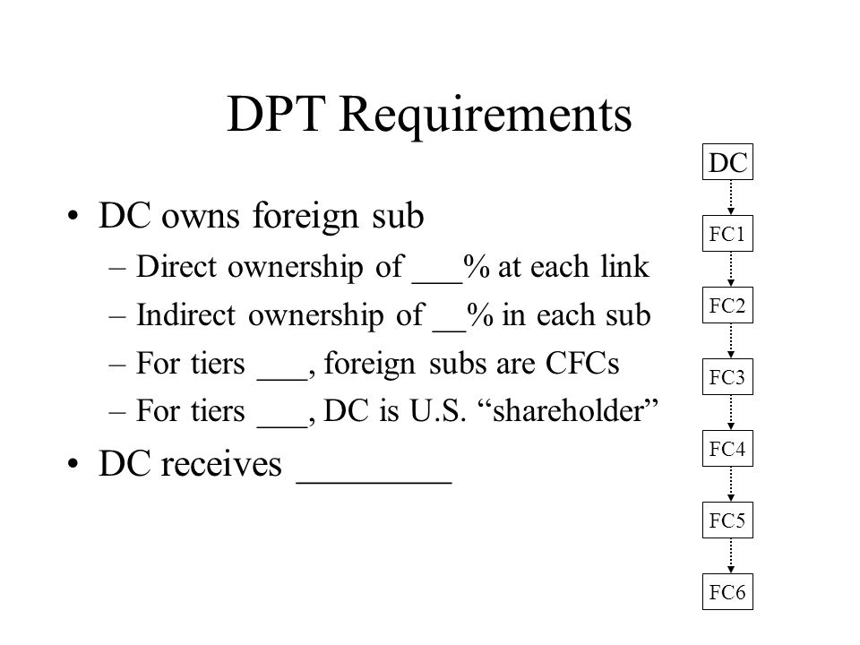 DPT Requirements DC owns foreign sub –Direct ownership of ___% at each link –Indirect ownership of __% in each sub –For tiers ___, foreign subs are CFCs –For tiers ___, DC is U.S.