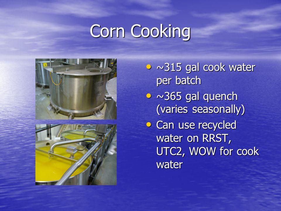 Corn Cooking ~315 gal cook water per batch ~315 gal cook water per batch ~365 gal quench (varies seasonally) ~365 gal quench (varies seasonally) Can use recycled water on RRST, UTC2, WOW for cook water Can use recycled water on RRST, UTC2, WOW for cook water