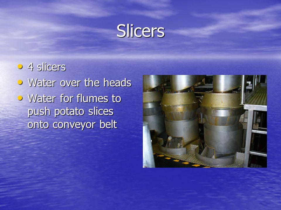 Slicers 4 slicers 4 slicers Water over the heads Water over the heads Water for flumes to push potato slices onto conveyor belt Water for flumes to push potato slices onto conveyor belt