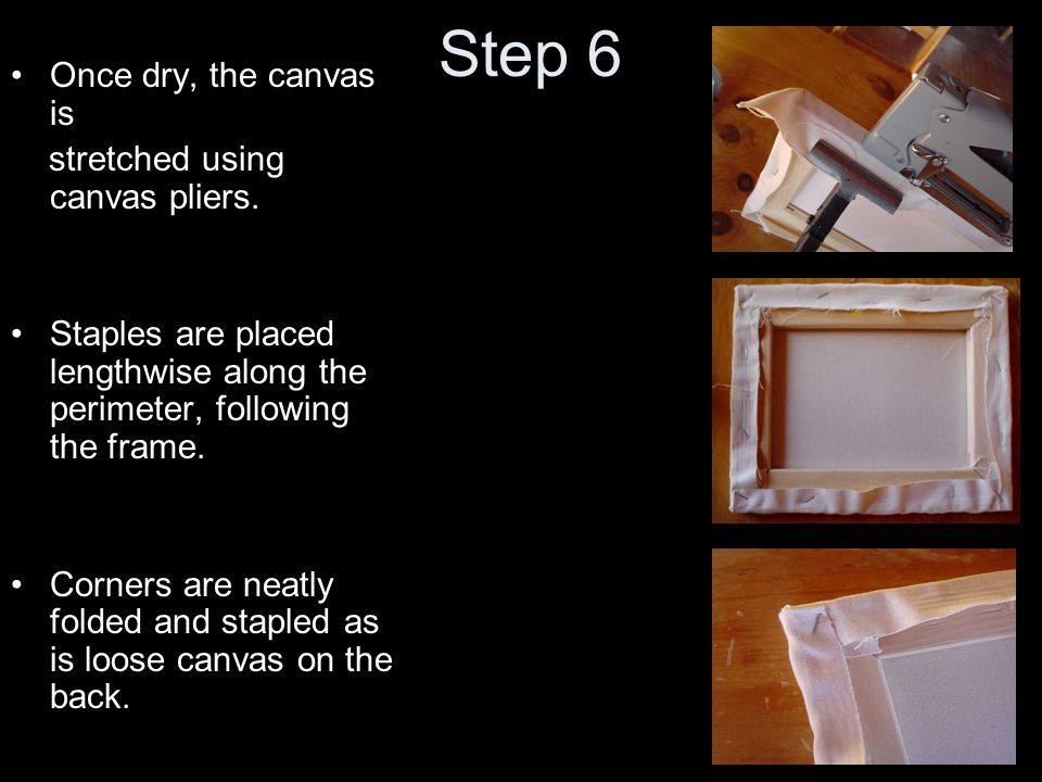 Step 2B Using trowel, spread a thin layer of paint/drier mixture on the canvas surface.