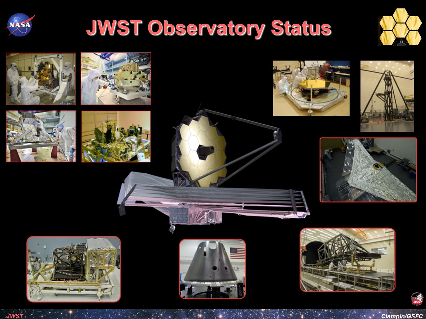 Clampin/GSFC JWST Calibration Options Is it possible to calibrate the structure of detector pixels on-orbit to facilitate jitter decorrelation for science instruments ➡ Added option for Fine Steering Mirror (FSM) to step a star around a detector pixel under fine guidance ➡ Known as FSM-offsets ➡ Small-angle maneuvers use reaction wheels and are limited in precision ➡ FSM offsets have precision of few mas and allow an image to be stepped around a single pixel to map out pixel response functions ➡ Efficient small angle dithering ➡ Especially useful for MIRI where ground-calibration is not feasible