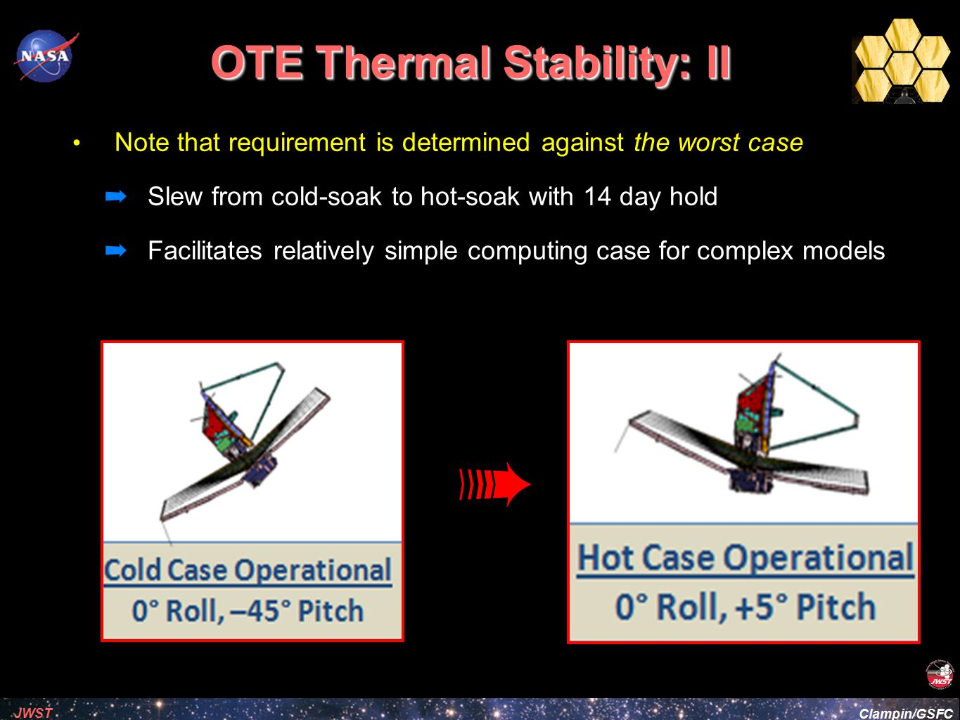 Clampin/GSFC JWST OTE Thermal Stability: III For a real-world science operations Design Reference Missions contain a distribution of pointing durations and sun-angles e.g.