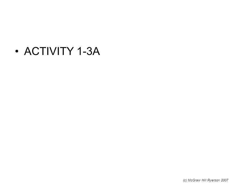 ACTIVITY 1-3A (c) McGraw Hill Ryerson 2007