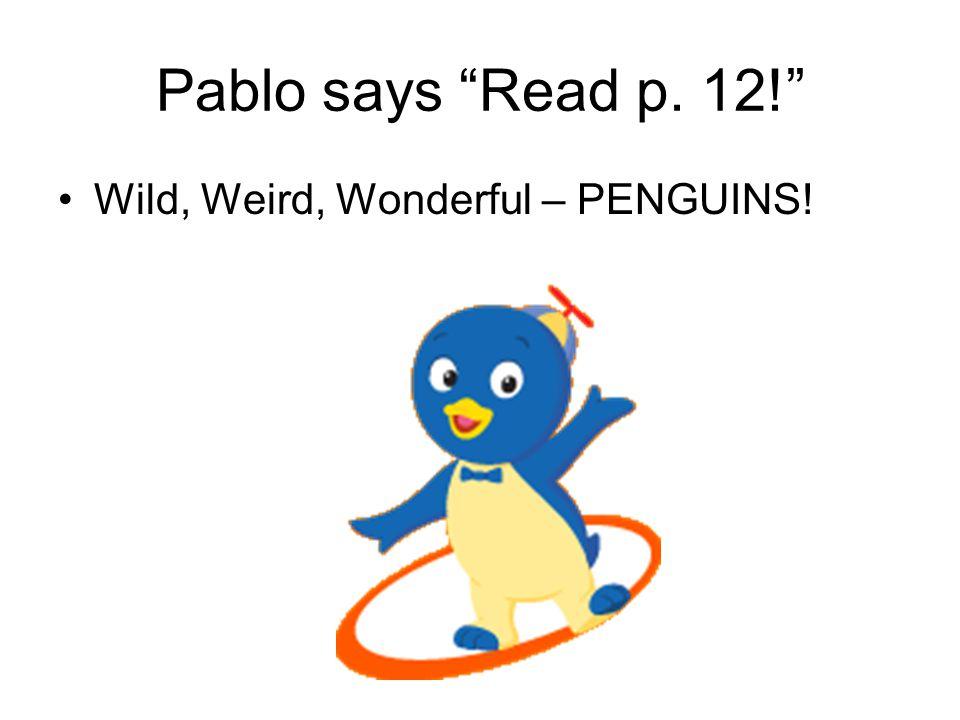 Pablo says Read p. 12! Wild, Weird, Wonderful – PENGUINS!