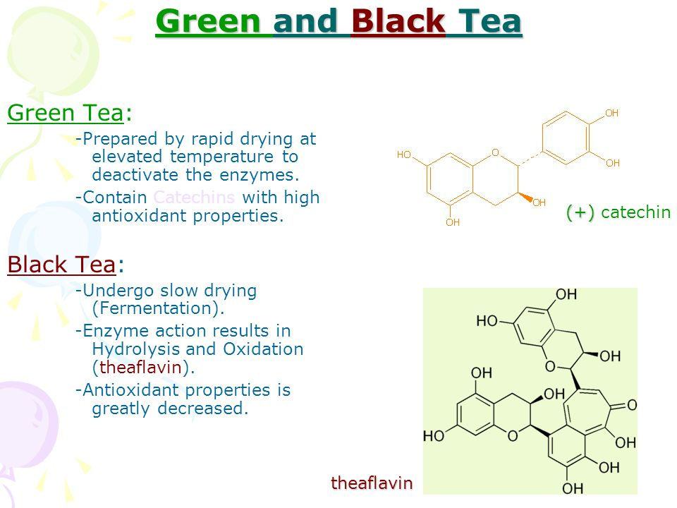 Green and Black Tea Green Tea: -Prepared by rapid drying at elevated temperature to deactivate the enzymes.