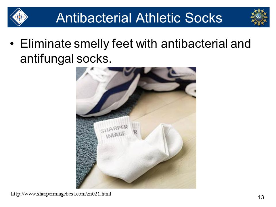 13 Antibacterial Athletic Socks Eliminate smelly feet with antibacterial and antifungal socks.