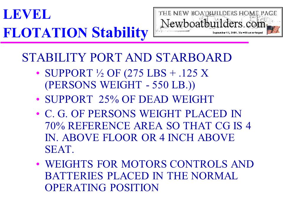 LEVEL FLOTATION Stability STABILITY PORT AND STARBOARD SUPPORT ½ OF (275 LBS +.125 X (PERSONS WEIGHT - 550 LB.)) SUPPORT 25% OF DEAD WEIGHT C. G. OF P