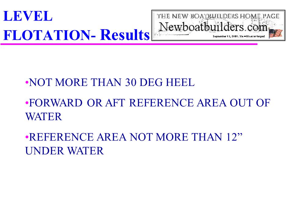 "LEVEL FLOTATION- Results NOT MORE THAN 30 DEG HEEL FORWARD OR AFT REFERENCE AREA OUT OF WATER REFERENCE AREA NOT MORE THAN 12"" UNDER WATER"