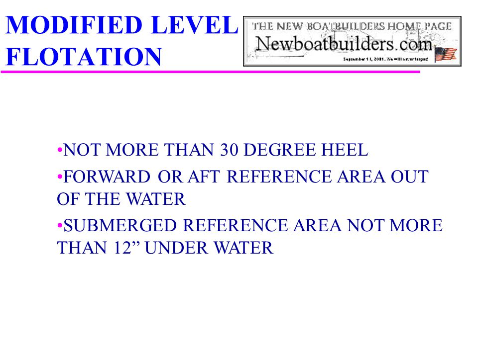 "MODIFIED LEVEL FLOTATION NOT MORE THAN 30 DEGREE HEEL FORWARD OR AFT REFERENCE AREA OUT OF THE WATER SUBMERGED REFERENCE AREA NOT MORE THAN 12"" UNDER"