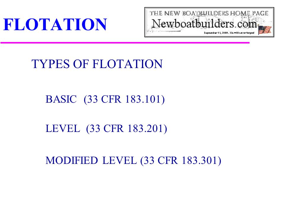FLOTATION TYPES OF FLOTATION BASIC (33 CFR 183.101) LEVEL (33 CFR 183.201) MODIFIED LEVEL (33 CFR 183.301)