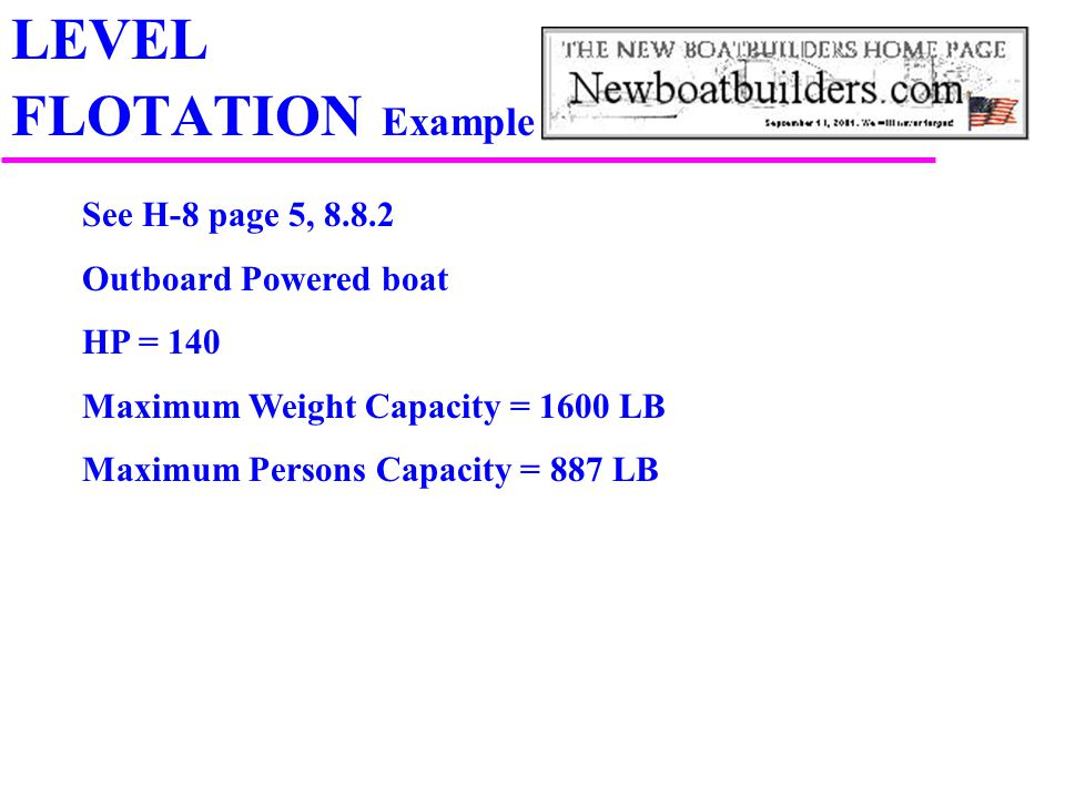 LEVEL FLOTATION Example See H-8 page 5, 8.8.2 Outboard Powered boat HP = 140 Maximum Weight Capacity = 1600 LB Maximum Persons Capacity = 887 LB