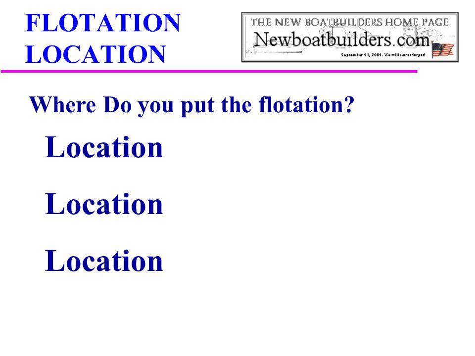 FLOTATION LOCATION Where Do you put the flotation? Location