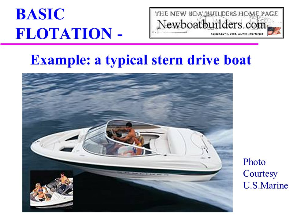 Photo Courtesy U.S.Marine BASIC FLOTATION - Example: a typical stern drive boat