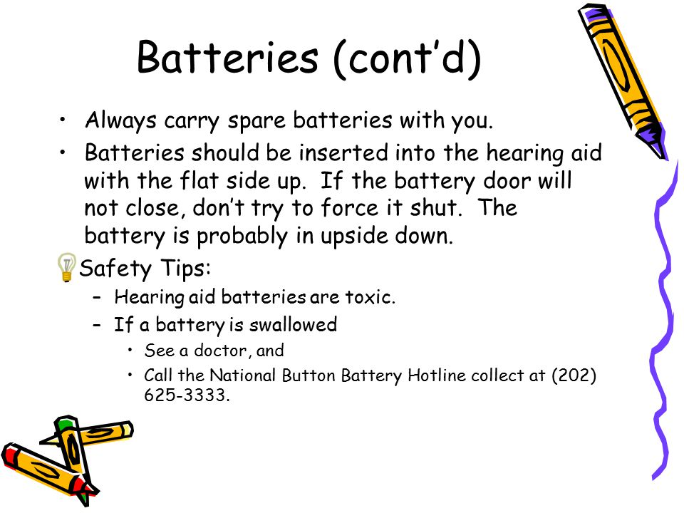 Batteries (cont'd) Always carry spare batteries with you. Batteries should be inserted into the hearing aid with the flat side up. If the battery door