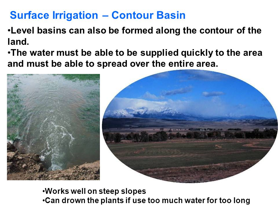 Surface Irrigation – Contour Basin Level basins can also be formed along the contour of the land. The water must be able to be supplied quickly to the