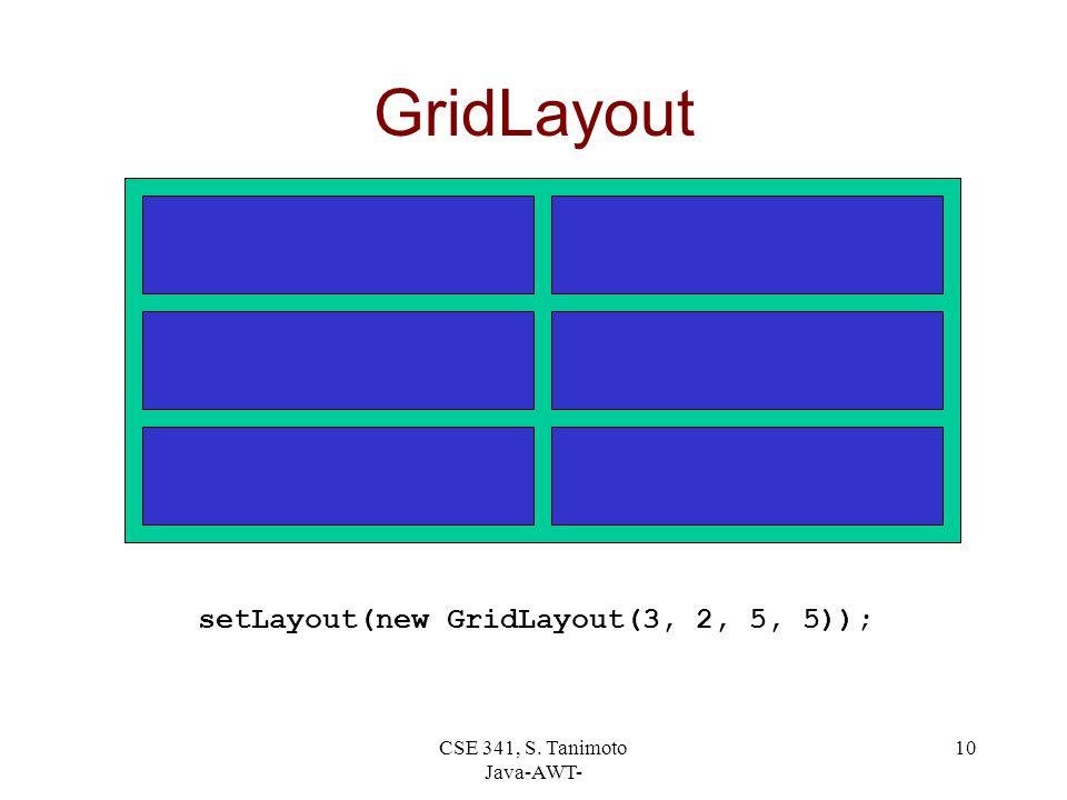 CSE 341, S. Tanimoto Java-AWT- 10 GridLayout setLayout(new GridLayout(3, 2, 5, 5));