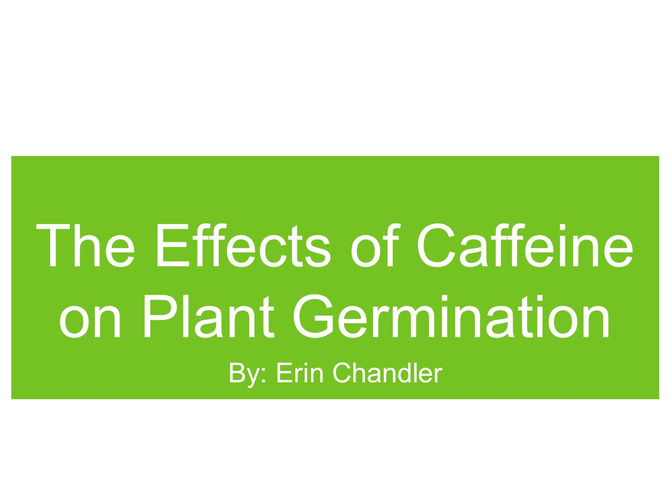 The Effects of Caffeine on Plant Germination By: Erin Chandler