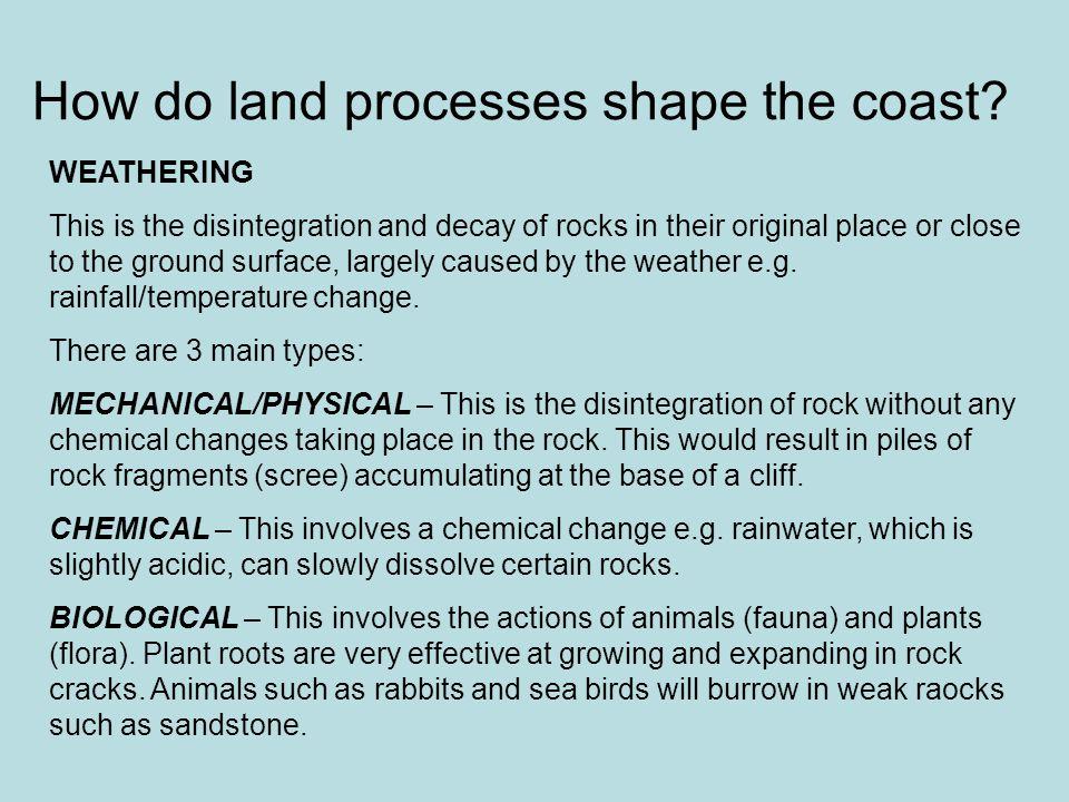 How do land processes shape the coast.