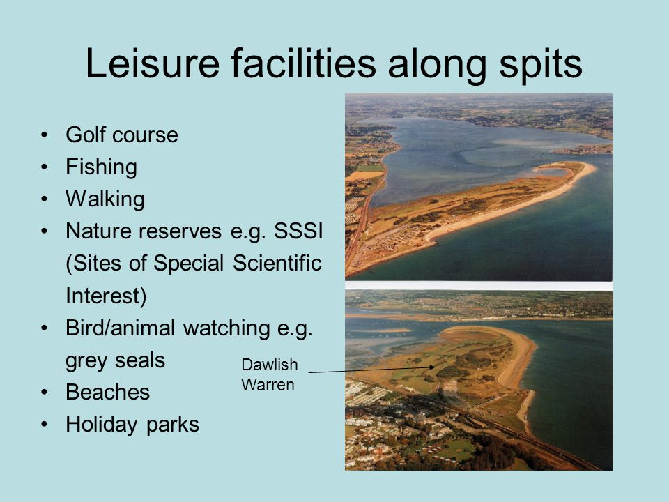 Leisure facilities along spits Golf course Fishing Walking Nature reserves e.g.