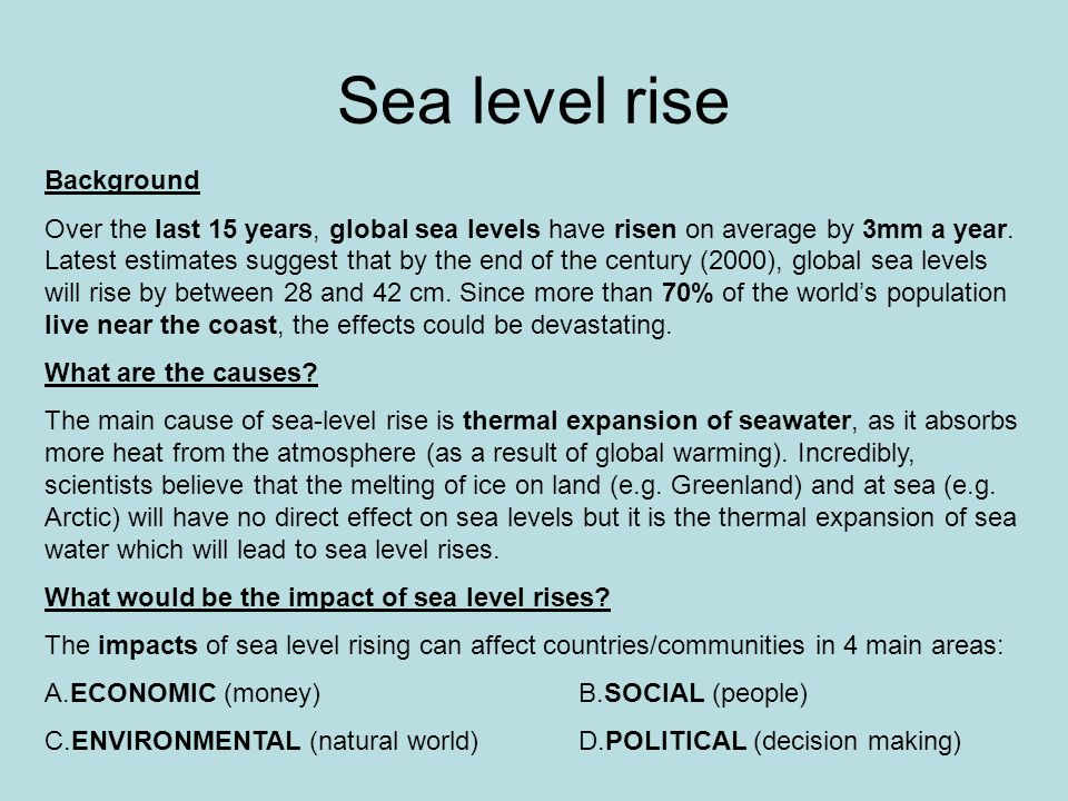 Sea level rise Background Over the last 15 years, global sea levels have risen on average by 3mm a year.