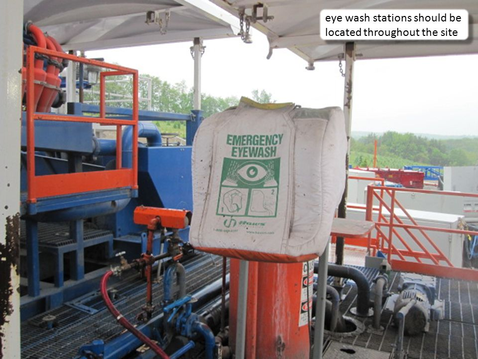 15 eye wash stations should be located throughout the site
