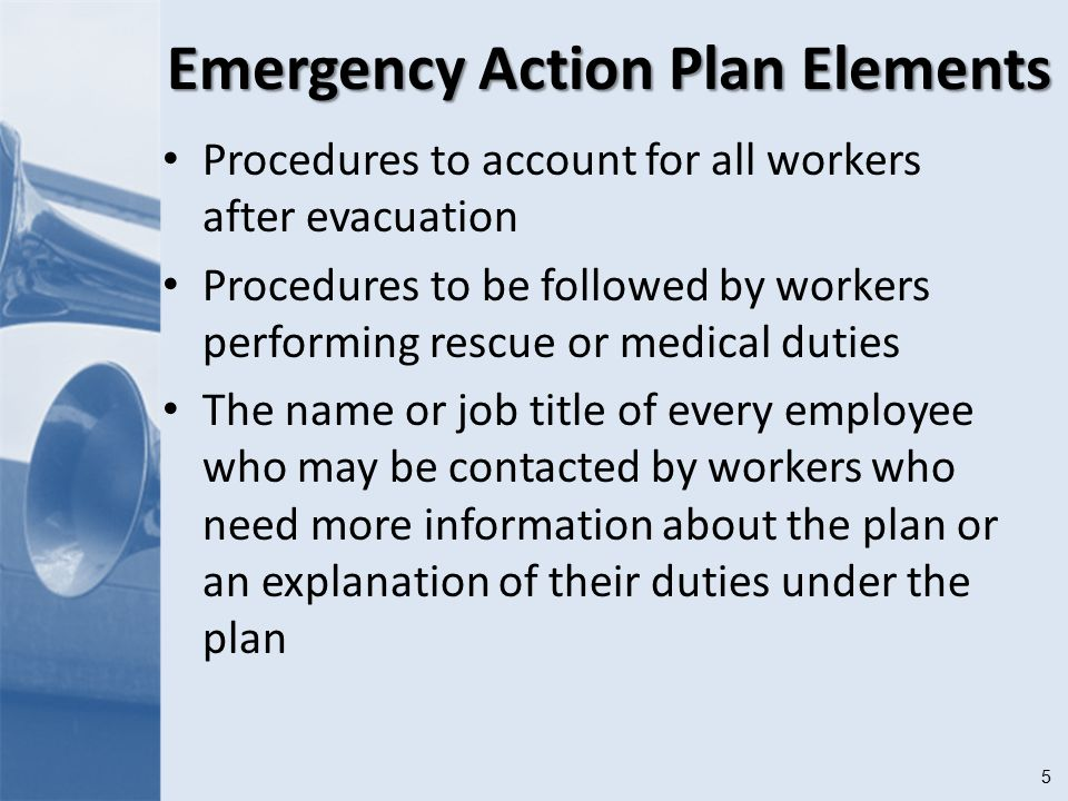 5 Emergency Action Plan Elements Procedures to account for all workers after evacuation Procedures to be followed by workers performing rescue or medical duties The name or job title of every employee who may be contacted by workers who need more information about the plan or an explanation of their duties under the plan
