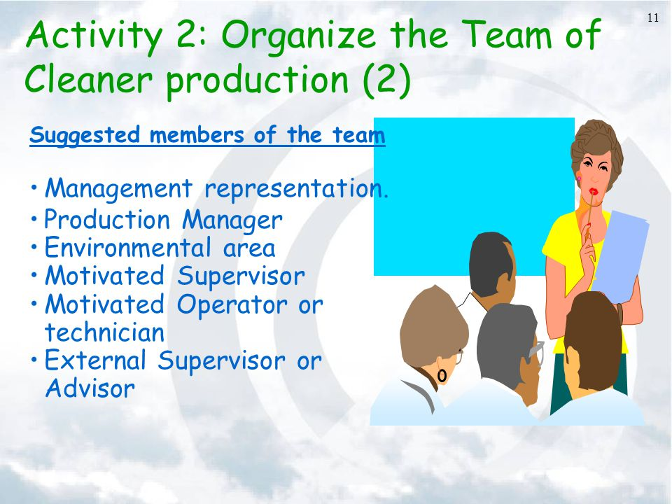11 Activity 2: Organize the Team of Cleaner production (2) Suggested members of the team Management representation. Production Manager Environmental a