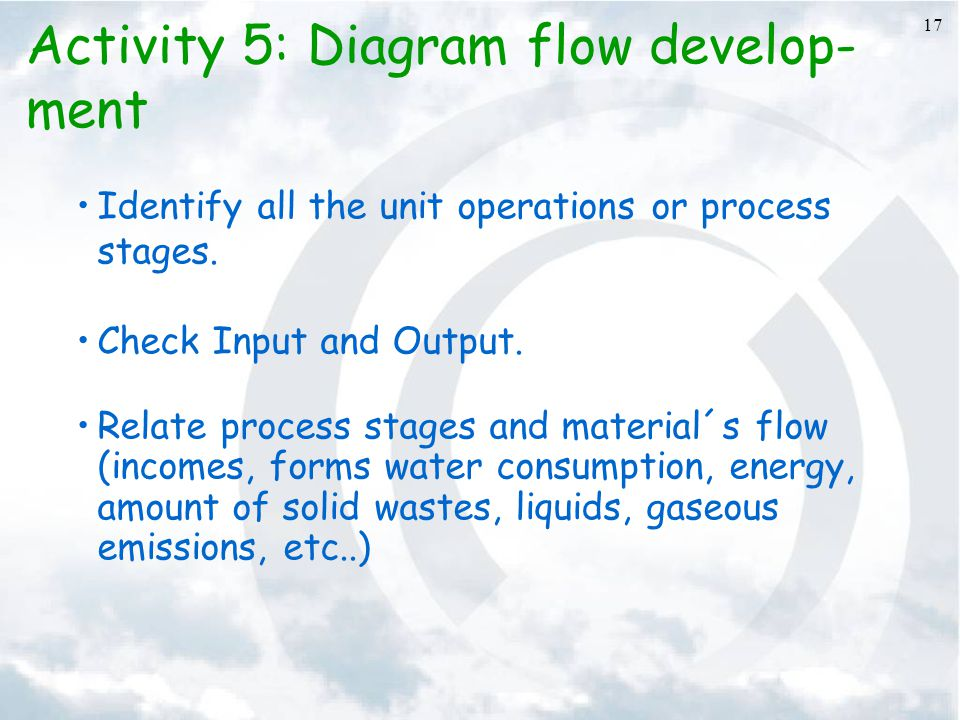 17 Activity 5: Diagram flow develop- ment Identify all the unit operations or process stages. Check Input and Output. Relate process stages and materi
