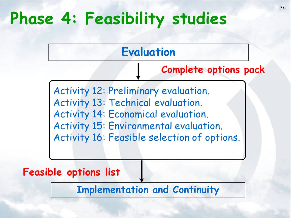 36 Phase 4: Feasibility studies Activity 12: Preliminary evaluation.