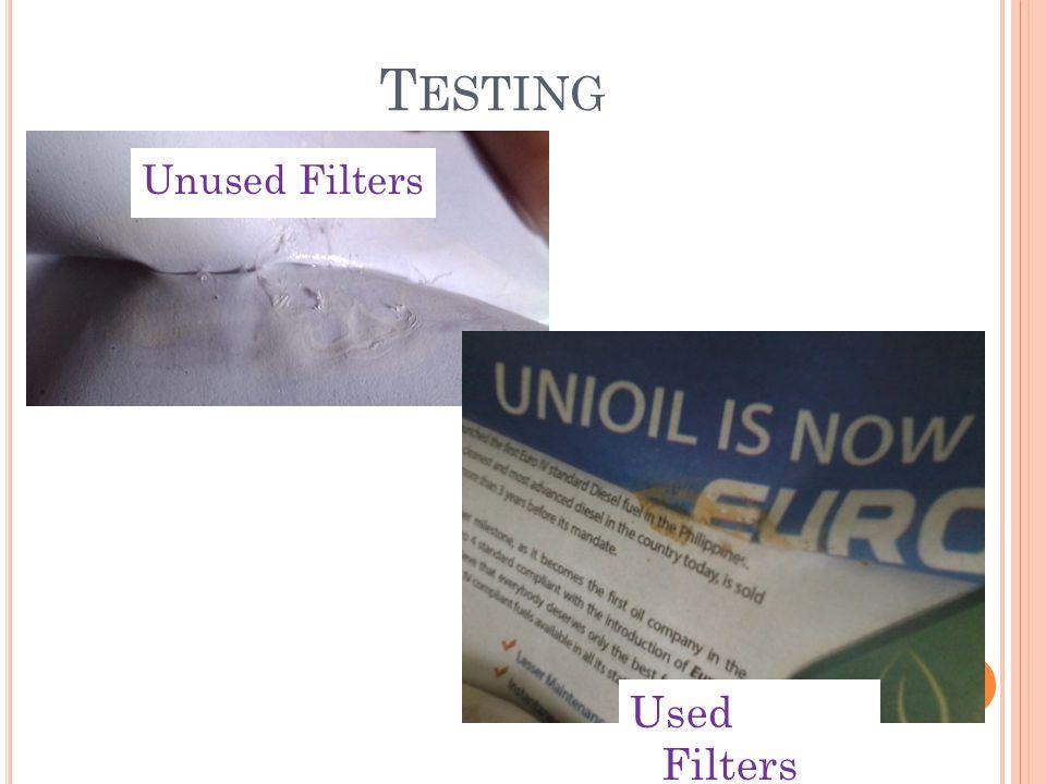 T ESTING Used Filters Unused Filters