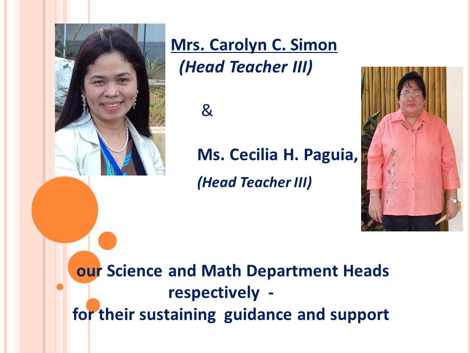 Mrs. Carolyn C. Simon (Head Teacher III) & Ms. Cecilia H. Paguia, (Head Teacher III) our Science and Math Department Heads respectively - for their su