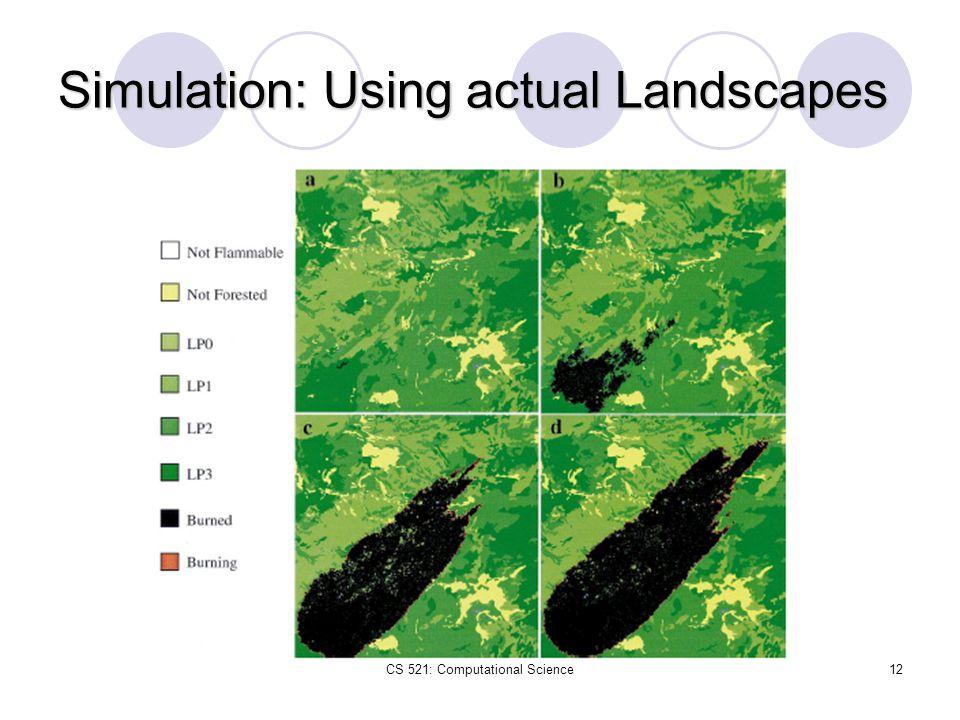 CS 521: Computational Science12 Simulation: Using actual Landscapes