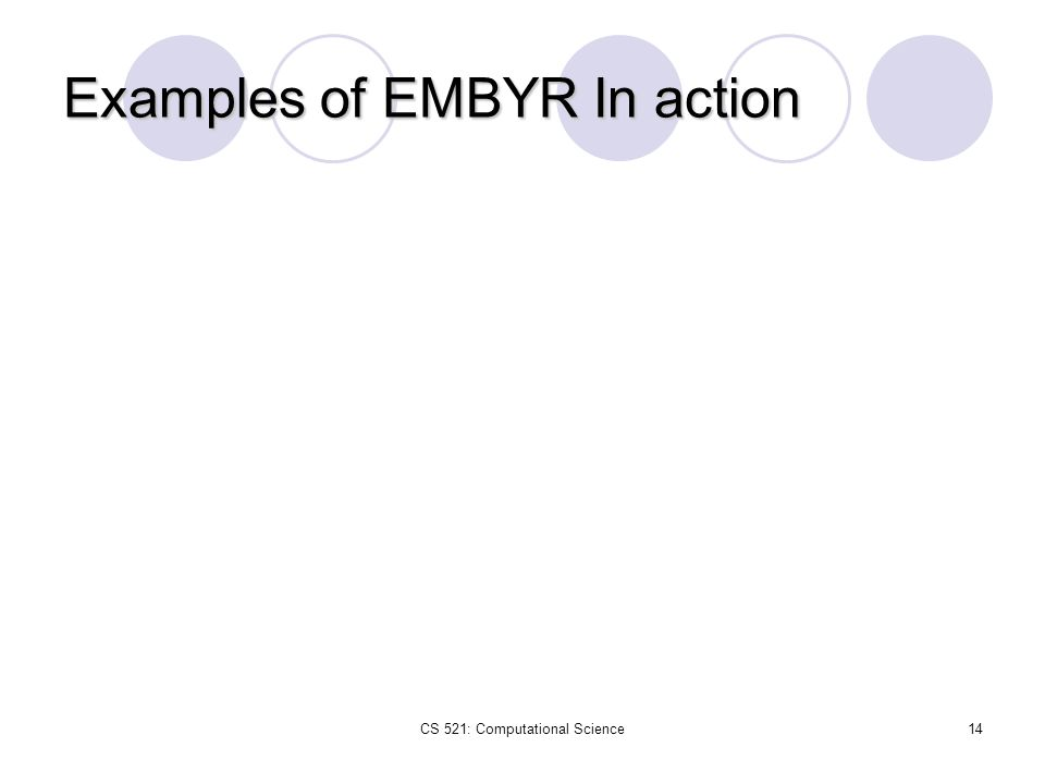 CS 521: Computational Science14 Examples of EMBYR In action