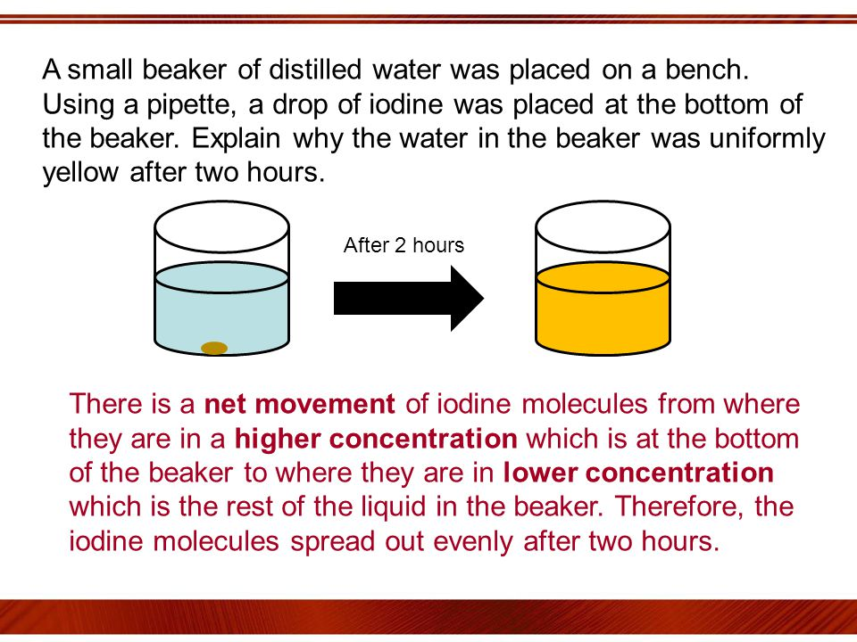 A small beaker of distilled water was placed on a bench.
