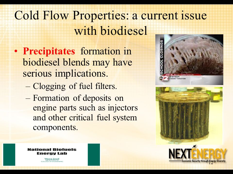 12 Precipitates formation in biodiesel blends may have serious implications. –Clogging of fuel filters. –Formation of deposits on engine parts such as