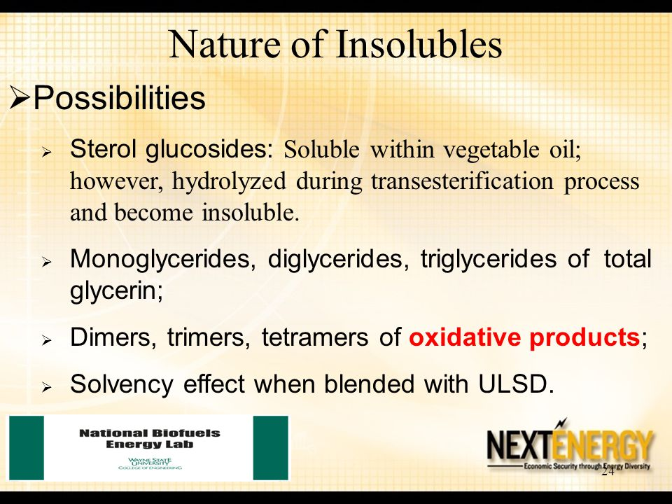 24 Nature of Insolubles  Possibilities  Sterol glucosides: Soluble within vegetable oil; however, hydrolyzed during transesterification process and